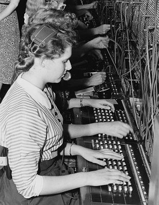 Early telephone switchboard.