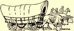 Covered wagon pulled by oxen.